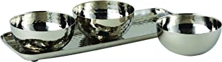 Elegance Hammered Stainless Steel 3 Bowl Set with Tray, Silver