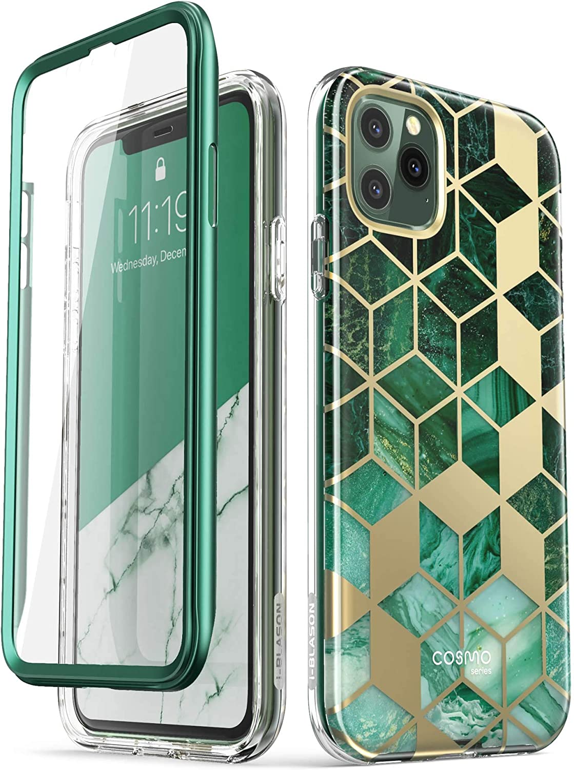 i-Blason Cosmo Series Case for iPhone 11 Pro Max 2019 Release, Slim Full-Body Stylish Protective Case with Built-in Screen Protector (Green)