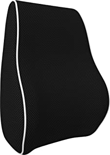 bonmedico Orthopedic Lumbar Support Pillow, Back Cushion with Memory Foam, Posture Corrector for Back Support and Back Pain Relief, Ergonomic for Car Seat, Home, Office-Chair, Black, Standard