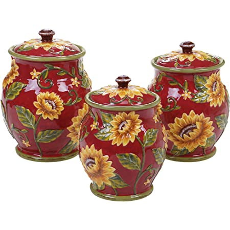 Multicolor Certified International Corp 23740 Vintners Journal 3 piece Canister Set