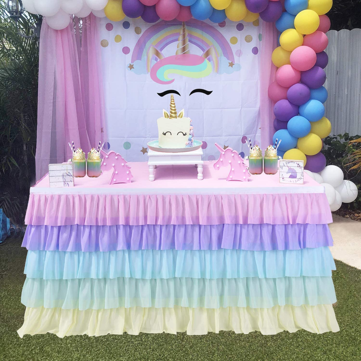 Import 14ft Max 76% OFF Rainbow Unicorn Tutu Table Tables Rectangle Skirt for Round