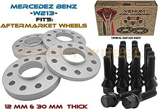 4Pc 5x112 Mercedes Benz Hub Centric Wheel Spacers | 12 mm & 30 mm|14x1.5 Black Ball Seat Lug Bolts | Factory Wheels | W213 2017+ E200 E250 E300 E350e E400 4Matic E43 E63 AMG +