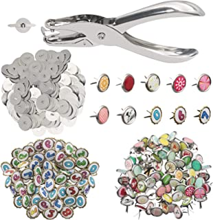 100 Pieces Paper Fasteners Brads, Mixed Colors Mini Brads Round Fasteners with 100 Pieces Silver Washers and Single Hole M...