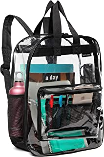 Clear-Backpack-See-Through-Transparent-Backpack w Front Zippered Pocket & 2 Mesh Side pocket Large Size School Bag Heavy Duty For College Work Security Travel & Sports