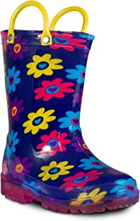 ZOOGS Children's Light Up Rain Boots for Little Kids & Toddlers, Boys & Girls