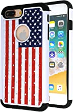 iPhone 7 Plus Case,iPhone 8 Plus Case,USA American Flag Studded Rhinestone Bling Hybrid Dual-Layer Shock Absorption Anti Scratch Protective Case Cover for iPhone 7 Plus/iPhone 8 Plus