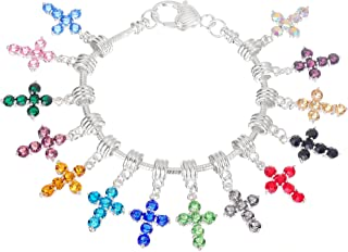 RUBYCA Mixed Colors Cross Dangle Charms for Bracelets Crystal Pendant Beads for Jewelry Making (Mix Colors, 10pcs)