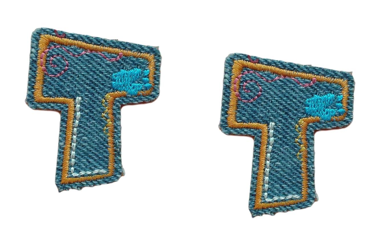 (2) Small Denim Letter T Iron On Patch Applique Motif Alphabet Symbol Scrapbooking Decal 1.4 x 1.2 (3.5 x 3 cm)
