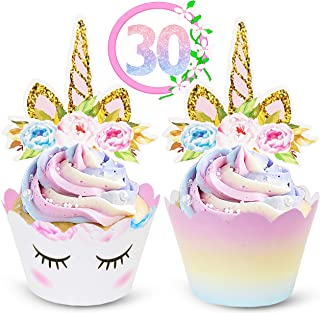 ecoZen Lifestyle Unicorn Cupcake Toppers and Wrappers Decorations (30 of Each) - Reversible Rainbow Cup Cake Liners with U...