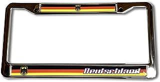 Proud Store Online Germany Flag Domed Steel License Plate Frame -US Size- Deutschland, Munich, Bon, Berlin, Dortmund, Stuttgart US Standard Size