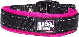 Black Rhino - The Comfort Collar Ultra Soft Neoprene Padded Dog Collar for All Breeds - Heavy Duty Adjustable Reflective Weatherproof