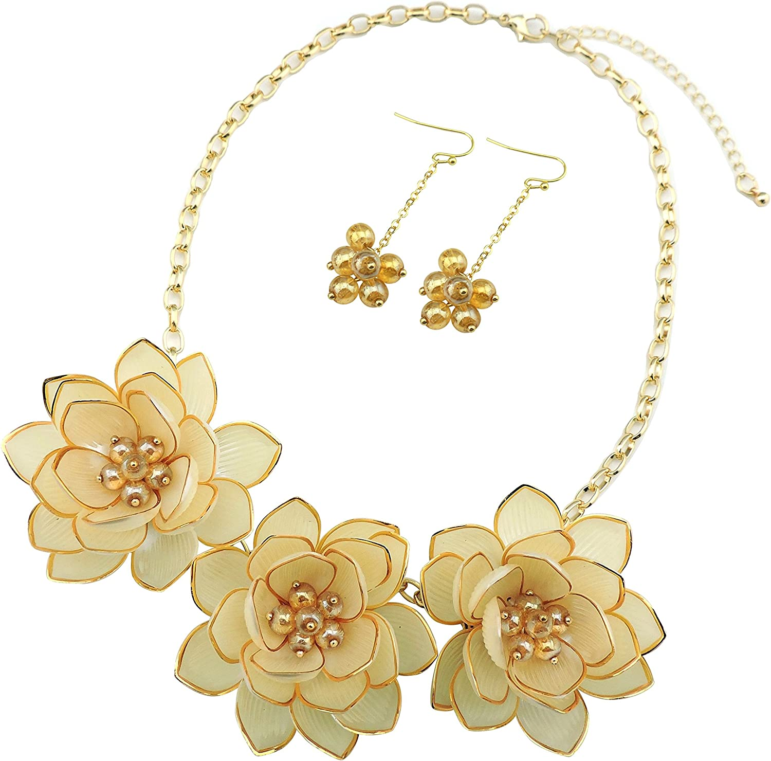 BOCAR Bib Statement Pendant Flower Jewelry Set Necklace and Earrings for Women Gift (NK-10372-cream)