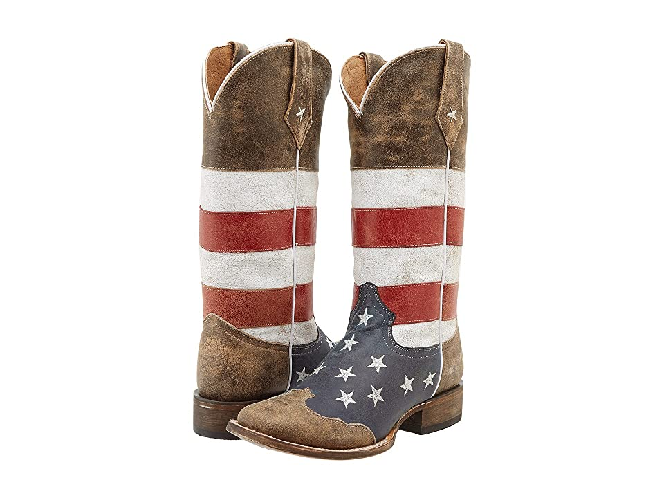 Roper American Flag Square Toe Boot (Brown) Women