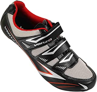 Venzo Bicycle Men's or Women's Road Cycling Riding Shoes - 3 Velcro Straps- Compatible with Peloton Shimano SPD & Look ARC Delta - Perfect for Indoor Spin Road Racing Bikes Black