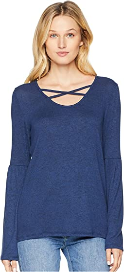 Long Sleeve Scoop Neck Top with Cross Detail
