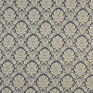 Colonial Beige Tan Taupe Blue Floral Heirloom Vintage Damask Jacquard Upholstery Fabric by the yard