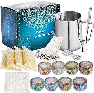 Coffret Cadeau kit de Fabrication de Bougies, Cire d'abeille, 50 mèches de Cire avec Support, 8 boîtes de Conserve pour Bo...