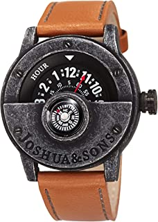 Joshua & Sons Heavy Duty Rugged Men's Watch - Double Stitched Leather Band, Explorer Style with Built In Compass - Unique Rotating Wheel Display