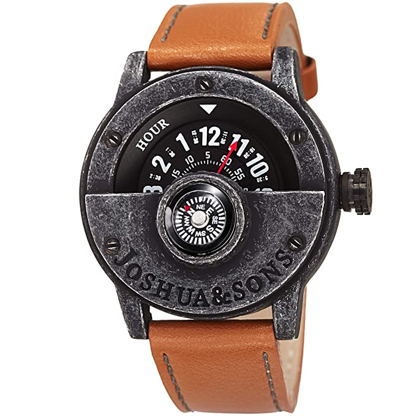 Joshua & Sons JX116 Heavy Duty Rugged Men's Watch – Double Stitched Leather Band, Explorer Style Built in Compass - Rotating Wheel Display