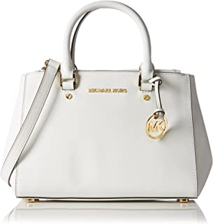 MICHAEL KORS SUTTON SMALL SAFFIANO LEATHER SATCHEL OPTIC WHITE