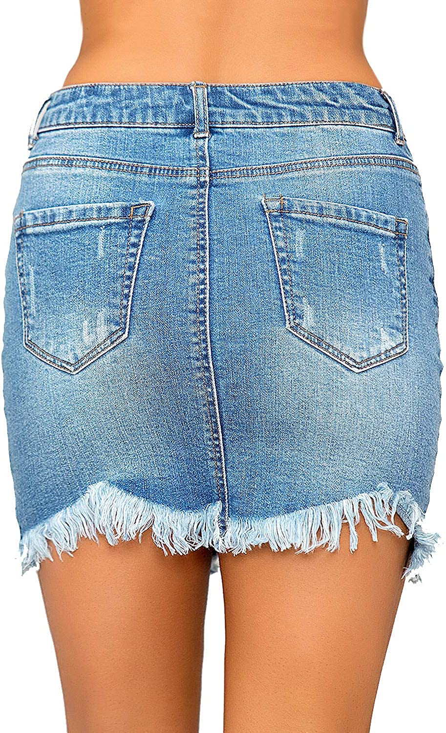 GRAPENT Women's Casual Mid Rise Ripped Pockets Distressed Short Denim Jeans Skirt