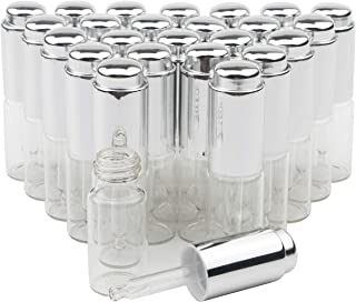 JIUWU 10ml 1/3 Oz Essential Oil Transparent Glass Dropper Bottle with Silver Pressure Pump and Tip Eye Dropper Perfume Cos...