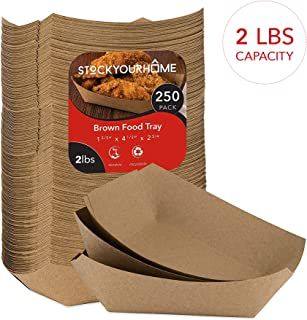 Paper Food Boats (250 Pack) Disposable Brown Tray 2 Lb - Eco Friendly Brown Paper Food Tray 4.5