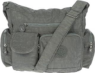 Damen Handtasche Crinkle Nylon Umhängetasche Schultertasche Tasche Shopper Bag Grau