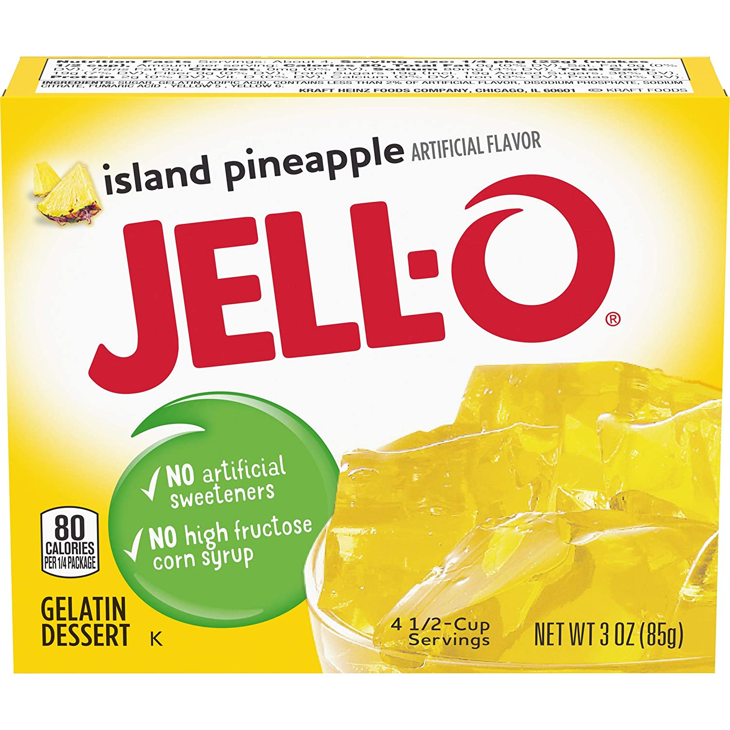 Jell-O Island Pineapple Gelatin Mix 3 Ranking TOP17 Portland Mall 24 Boxes Pack oz of