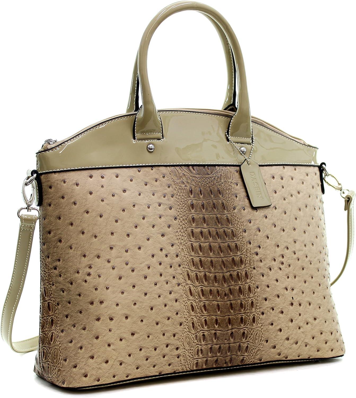 Dasein Ostrich Elegantly Structured Satchel Briefcase Tote Shoulder Bag Handbag Purse with Patent Trim