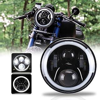 MOVOTOR ホンダバイクCB13007インチLEDヘッドライト ホーネット250対応 DRL機能 イカリング付き Hi/Loビーム ブラック 1個