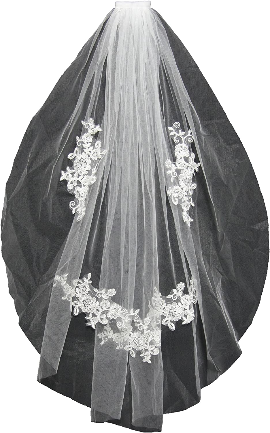 KAY&LAYLA 1T 1 Layer Lace Wedding Veils 1 Tiers Bridal Veil with Comb