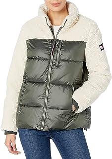 womens Sherpa Mixed Media Puffer Jacket