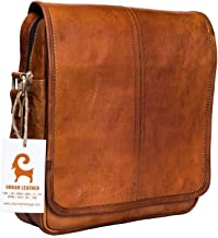 Urban Leather 12 Inch Vertical Messenger Bag   Handmade Sling Satchel Brown Handbag Purse for Men Women Boys Girls Outing Travel Passport Bags with Natural Textures, Size 12 Inch