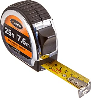 Keson PG10M25 Short Tape Measure with Nylon Coated Steel Blade (Graduations: 1/10, 1/100 & cm, mm), 1-Inch by 25-Foot / 7.5M