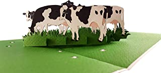 iGifts And Cards Dairy Cows 3D Pop Up Greeting Card - Cattle, Farm, Barn, Grass, Wow, Half-Fold, Happy Birthday, Friendship, Thank You, Father's & Mother's Day, All Occasions, Retirement, Welcome