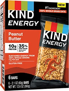 KIND Energy Bar, Peanut Butter, Gluten Free, Low Sugar, 1.76 Ounces, 30 Count