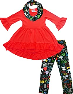 Amor Bee Girls Valentine's Day I Heart Love Elixir Outfit Set - Hi-Low Tunic Legging Scarf 3pc Set