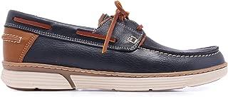 C01105 Zapatos Náuticos en Azul Marino de Piel Hombre Verano con Cordones