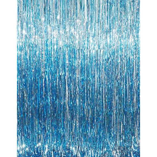 GOER 32 Ft X 98 Metallic Tinsel Foil Fringe Curtains For Party Photo Backdrop Wedding