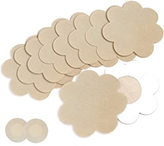 Nipple Breast Covers, Sexy Breast Pasties Adhesive Bra Disposable (10 Flower/1 Round Beige)