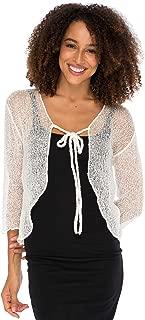 Back From Bali Womens Sheer Shrug Cardigan Cropped Bolero Jacket Lightweight Knit with Ties