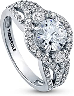 Rhodium Plated Sterling Silver Round Cubic Zirconia CZ 3-Stone Anniversary Engagement Ring 2.08 CTW