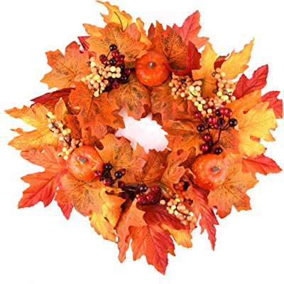 MIAHART 18 Inch Fall Wreath Autumn Wreath for Front Door Decor Harvest Day Wreath for Autumn, Halloween Decorations, Thanksgiving Decorations, Welcome Sign