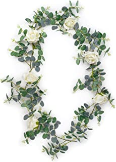 Birch Group Faux Eucalyptus Garland with Classic White Silk Rose Flowers - 70 inch Artificial Eucalyptus Greenery Garland with Silver Dollar Leaves for Wedding Greenery, Home Decor, and Parties