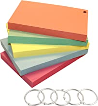 DEBRADALE DESIGNS 4 x 6 Inch - Hole Punched Blank Index Cards - 140# Extra Heavy Index Card Stock - 5 Colors - 5 Binder Rings