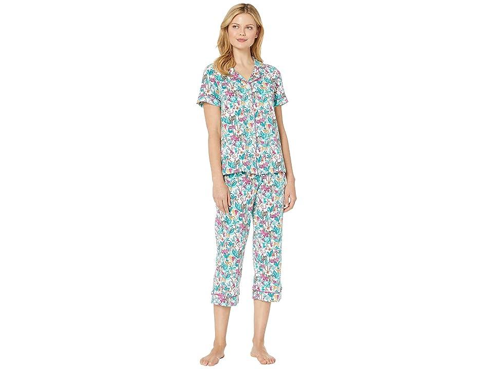 BedHead Pajamas Short Sleeve Cropped Pajama Set (Into The Jungle) Women