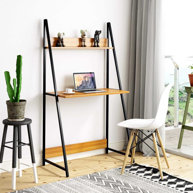 Joolihome - Escritorio para ordenador, 2 niveles, escalera, mesa para ordenador portátil con estante, para aprender a escribir y trabajar, para el hogar, oficina, dormitorio, dormitorio (color teca): Amazon.es: Hogar