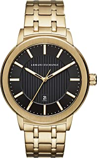 Armani Exchange Men's Three-Hand Date Gold-Tone Stainless Steel Watch AX1456