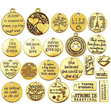 60pcs Antique Gold Inspiration Words Charms Craft Supplies Pendant Round Bead Charms for DIY Necklace Bracelet Jewelry Making Crafting Findings Accessory